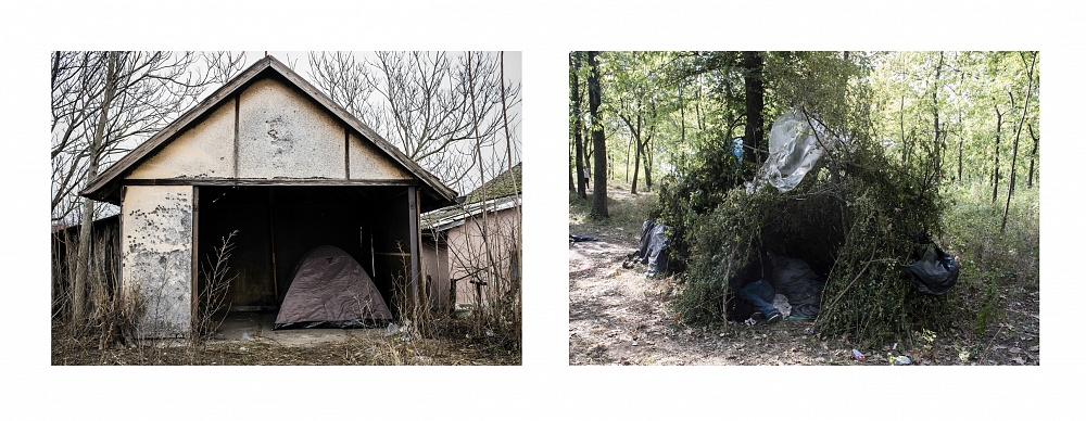 Subotica (left) and a hut made of tree branches in the 'jungle' near the town of Sombor, on the Serbian-Croatian border (right), Serbia 2017.