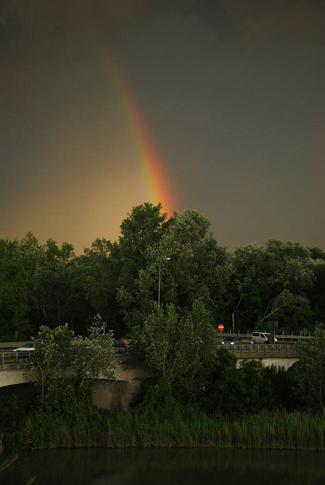 Arcobaleno si alza su tutti e tutte e tutto, umani, piante, animali, auto davanti alla Torre delle Mandriole. E non appartiene a nessuno, eh già!