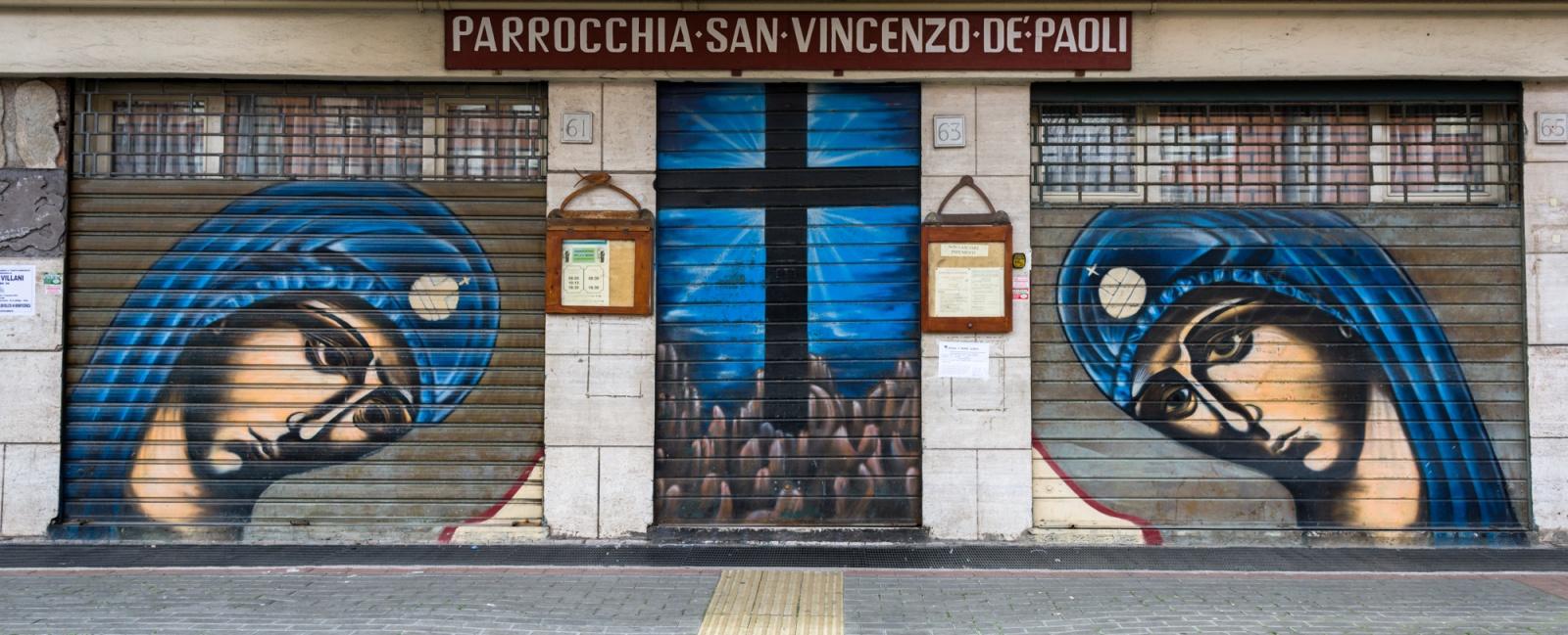 Icone bizantine (le due Maria e con la porta della chiesa con una croce sulla roccia), Autore: MrKlevra