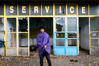 Khan from Afghanistan, Adaševci Serbia 2017. Khan left Afghanistan in 2016. After a year travelling across several countries, he arrived in Serbia. He tried to cross the borders but the Croatian police always stopped and beat him. He is living in an abandoned gas station near an highway. He wants to reach Germany or Italy, where several friends of him are living.